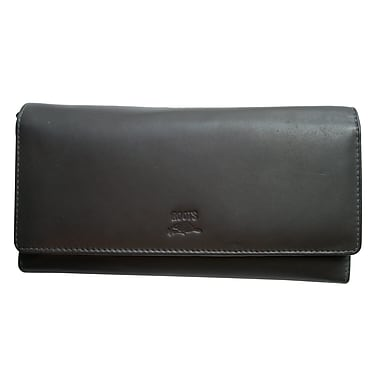 Roots Clutch Wallet with Check Book - Silhouette Collection, Brown