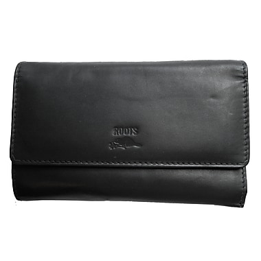 Roots Ladies Slim Clutch Wallet - Silhouette Collection, Black