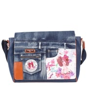 Nicole Lee Sunny White Denim Print Computer Messenger Bag