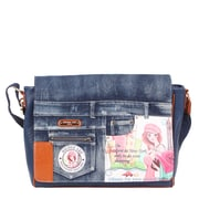 Nicole Lee Shopping Girl Denim Print Computer Messenger Bag