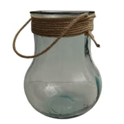 French Home Nautical Vase/lantern clear w/ rope top. 10'' Tall; 10'' H x 7'' W x 7'' D