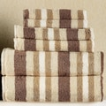 Simple Luxury Superior Stripes 100pct Cotton Bath Sheet (Set of 2); Chocolate