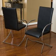 Home Loft Concept Justin Leather and Chrome Chairs (Set of 2) (Set of 2); Black