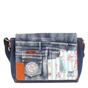 Nicole Lee Doll House Mint Denim Print Computer Messenger Bag