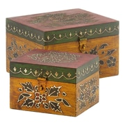 Modern Day Accents Painted / Embossed Square Box (Set of 2)