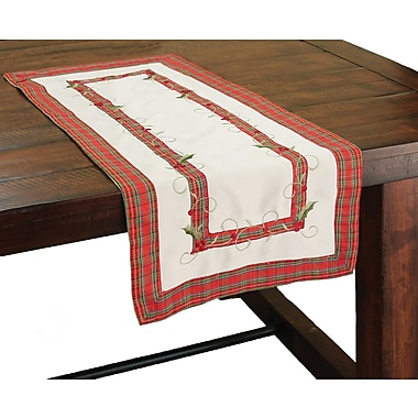 Xia Home Fashions Tartan Ribbon Embroidered Holiday Table Runner; 28'' W x 12'' L