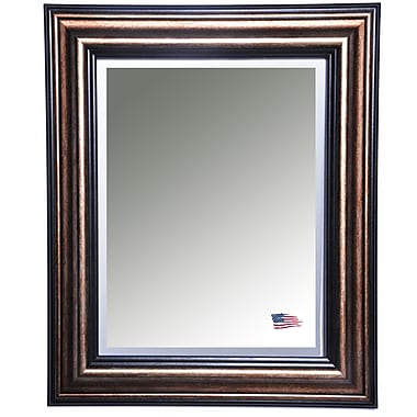 Rayne Mirrors Antique Canyon Bronze and Black Wall Mirror; 31.5'' H x 27.5'' W x 1'' D