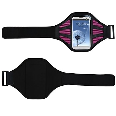 Insten® Vertical Pouch Universal Sport Armband With Hot Pink Mess Ports, Black