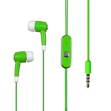 Insten® 10mW High Quality 3.5mm Stereo Hands Headset Earplug With MIC, Solid Green