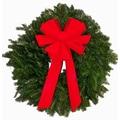 Fraser Fir Direct Fresh Fraser Fir Wreath - The ''Red Baron'' -  24'' -26'' (diam.)