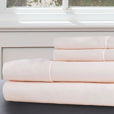 Lavish Home 100% Egyptian Cotton 300 Thread Count Queen Sheet Set, Ivory