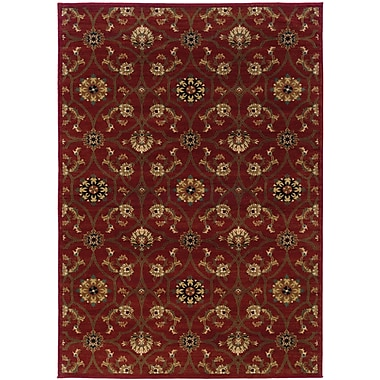 StyleHaven Floral Red/ Brown Indoor Machine-made Polypropylene Area Rug (3'10