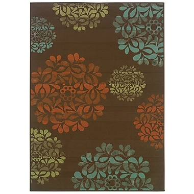 StyleHaven Floral Brown/ Blue Indoor/Outdoor Machine-made Polypropylene Area Rug (3'7