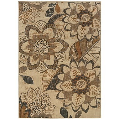 StyleHaven Floral Ikat Ivory/ Grey Indoor Machine-made Nylon Area Rug (7'8