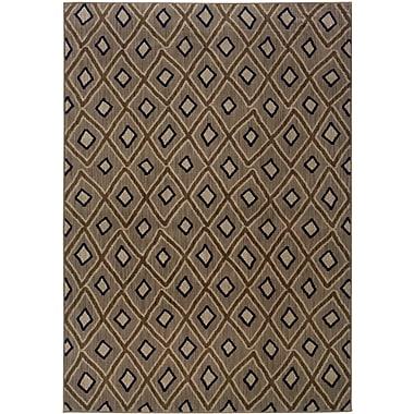 StyleHaven Geometric Grey/ Brown Indoor Machine-made Nylon Area Rug (6'7