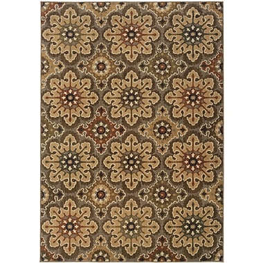 StyleHaven Floral Grey/ Gold Indoor Machine-made Nylon Area Rug (5'3