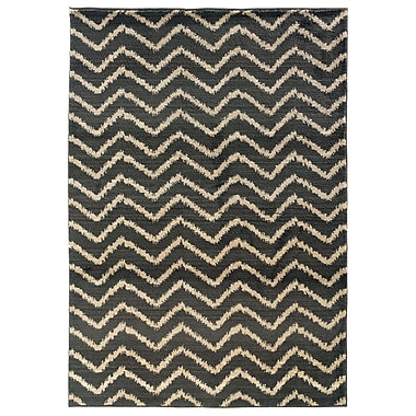 StyleHaven Tribal Chevron Grey/ Ivory Indoor Machine-made Polypropylene Area Rug (5'3