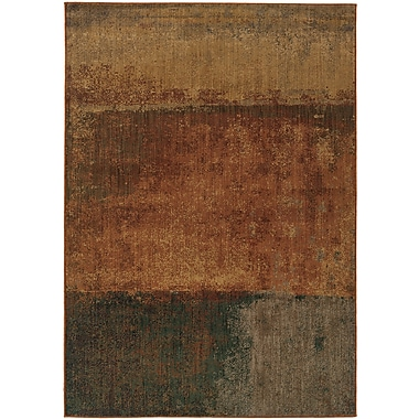 StyleHaven Abstract Orange/ Multi Indoor Machine-made Nylon Area Rug (3'10