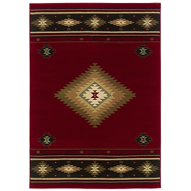 StyleHaven Southwest/Lodge Red/ Green Indoor Machine-made Polypropylene Area Rug (6'7