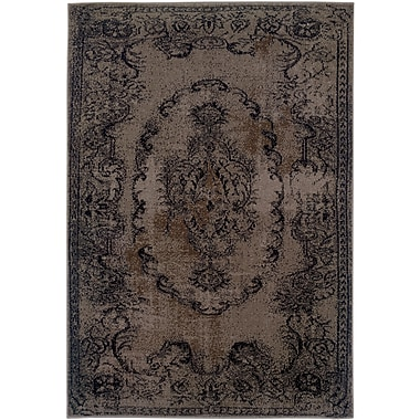 StyleHaven - Overdyed Oriental Grey/ Black Indoor Machine-Made Polypropylene Area Rug (6'7