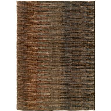 StyleHaven Striped Ikat Brown/ Rust Indoor Machine-made Nylon Area Rug (7'8