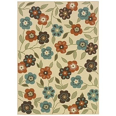 StyleHaven Floral Ivory/ Brown Indoor/Outdoor Machine-made Polypropylene Area Rug (6'7