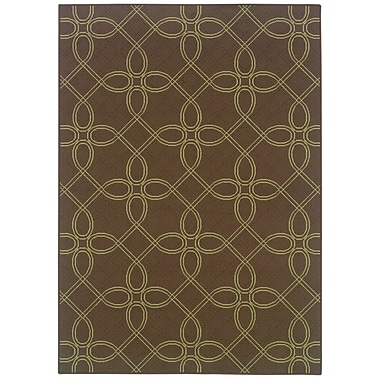 StyleHaven Geometric Brown/ Green Indoor/Outdoor Machine-made Polypropylene Area Rug (6'7