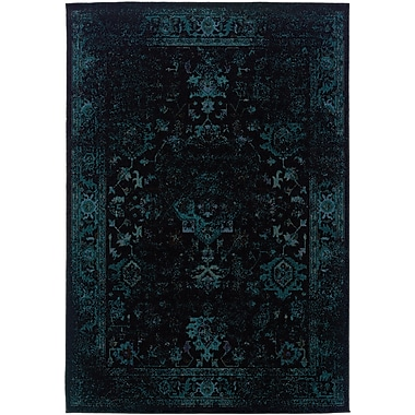 StyleHaven Overdyed Oriental Black/ Teal Indoor Machine-made Polypropylene Area Rug (6'7