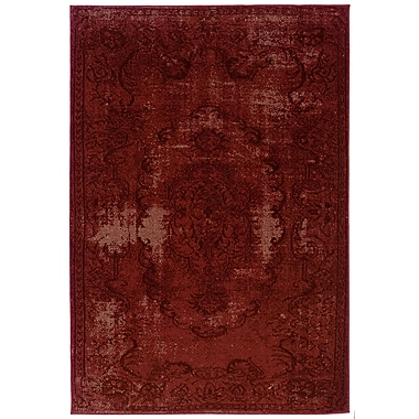 StyleHaven Overdyed Oriental Red/ Black Indoor Machine-made Polypropylene Area Rug (3'10