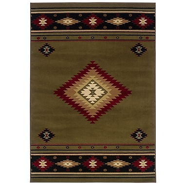 StyleHaven Southwest/Lodge Green/ Red Indoor Machine-made Polypropylene Area Rug (5'3