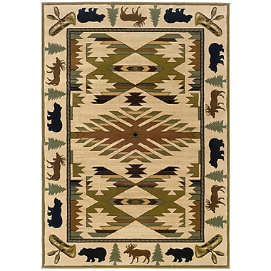 StyleHaven Southwest/Lodge Ivory/ Green Indoor Machine-made Polypropylene Area Rug (3'10