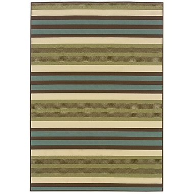StyleHaven-Stripes Green/ Blue Indoor/Outdoor Machine-made Polypropylene Area Rug (3'7
