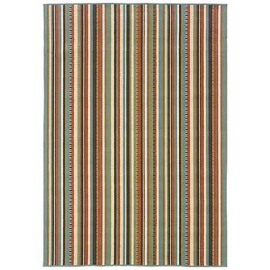 StyleHaven Stripes Green/ Blue Indoor/Outdoor Machine-made Polypropylene Area Rug (6'7