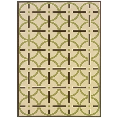 StyleHaven-Geometric Ivory/ Brown Indoor/Outdoor Machine-made Polypropylene Area Rug (5'3