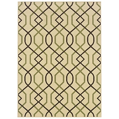 StyleHaven Geometric Ivory/ Brown Indoor/Outdoor Machine-made Polypropylene Area Rug (5'3