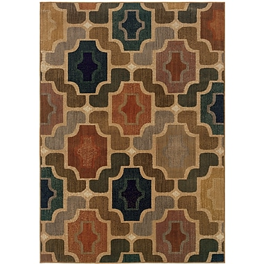 StyleHaven Geometric Gold/ Multi Indoor Machine-made Nylon Area Rug (7'8