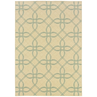StyleHaven Geometric Ivory/ Blue Indoor/Outdoor Machine-made Polypropylene Area Rug (5'3