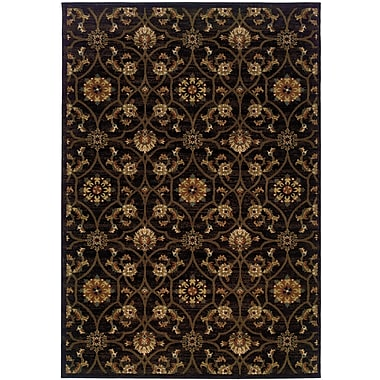 StyleHaven Floral Black/ Brown Indoor Machine-made Polypropylene Area Rug (3'10