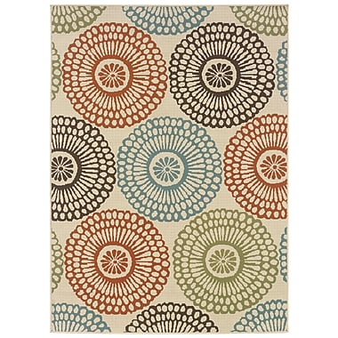 StyleHaven Floral Beige/ Blue Indoor/Outdoor Machine-made Polypropylene Area Rug (6'7