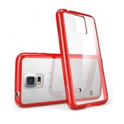 i-Blason Samsung Galaxy S5 Case, Clear Scratch Resistant Series with TPU Bumper, Clear / Red