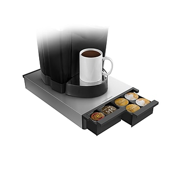 Mind Reader Ledge Coffee Pod Storage Drawer For 28 K-Cup, Silver
