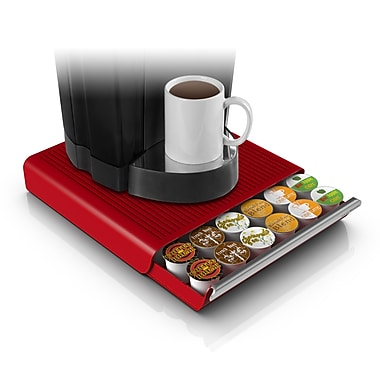Mind Reader Hero Coffee Pod Storage Drawer For 36 K-Cup, Red