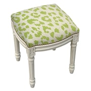123 Creations Animal Print Cheetah Linen Upholstered Vanity Stool; Chartreuse