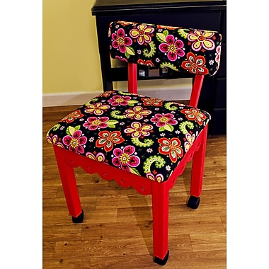 Arrow Sewing Chair with Underseat Storage; Red