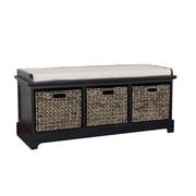 Gallerie Decor Newport Wooden Bedroom Storage Bench with 3 Baskets; Espresso