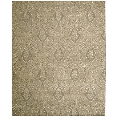 Nourison Silk Infusion Gray Damask Area Rug; 7'9'' x 9'9''