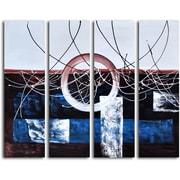 Omax Decor Hand Painted ''Split Diameter'' 4 Piece on Canvas Set