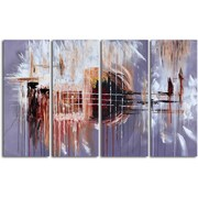Omax Decor Hand Painted ''Methodical Effusion'' 4 Piece on Canvas Set