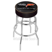 Holland Bar Stool Corvette - C6 25'' Swivel Bar Stool with Cushion; Black / Gold