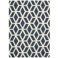 Nourison Linear Blue and Ivory Rug; 8' x 11'